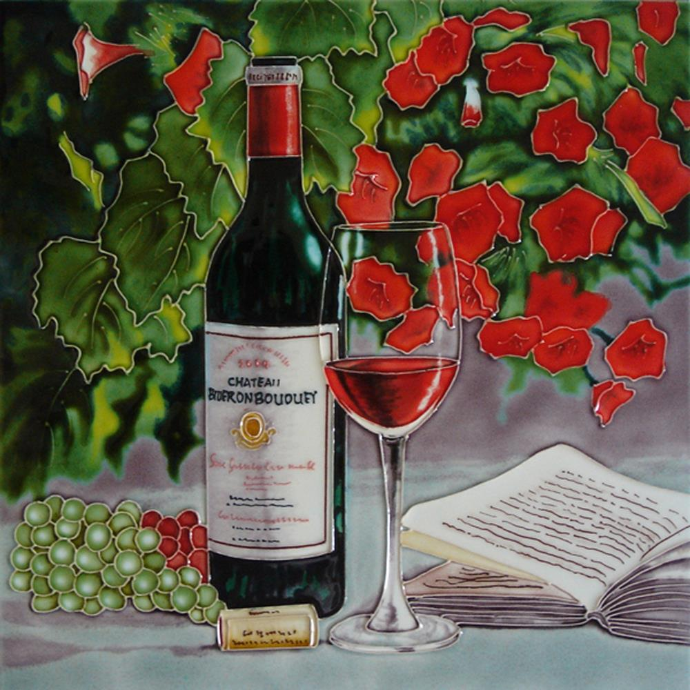 Red Wine & Red Flowers 12×12 Ceramic Tile