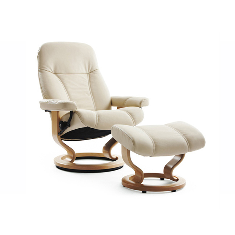 Stressless Consul Medium Chair & Stool Cream