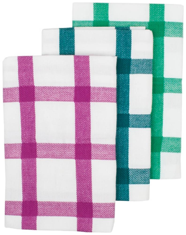 Ladelle Grid 3 Pack of Tea Towels in Burgundy, Navy and Green