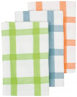 Ladelle 3 Pack of Tea Towels in Lime,Grey and Orange