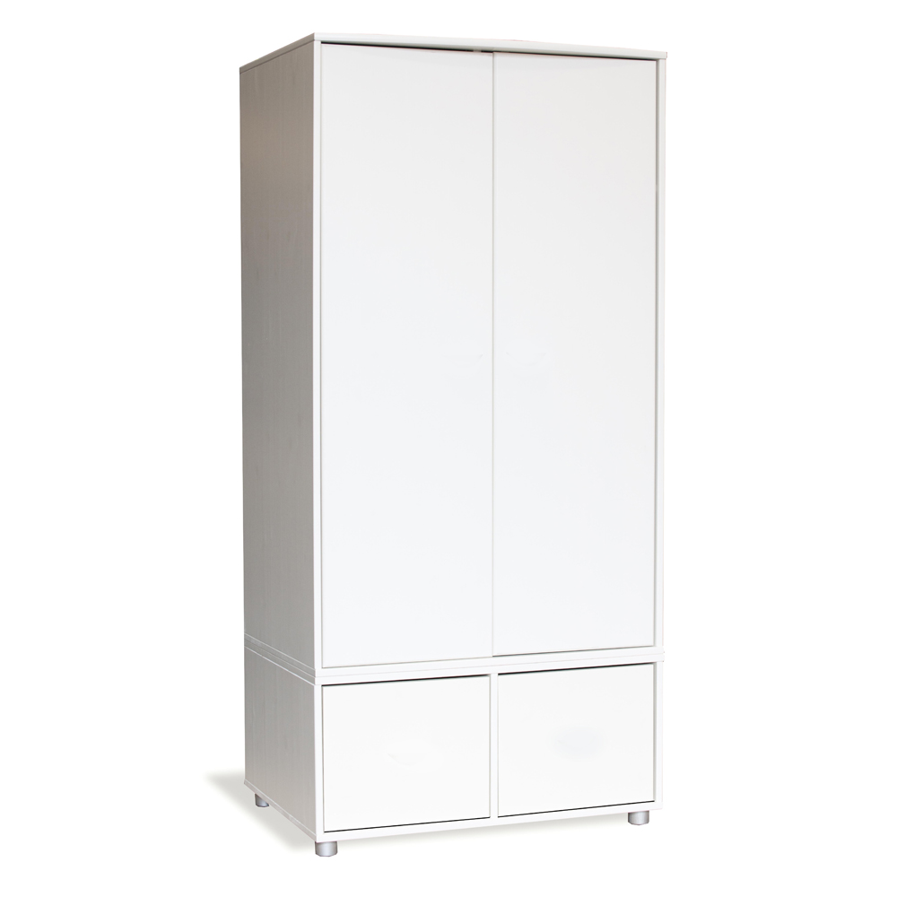 Stompa Duo Uno S Tall Wardrobe White with Doors White