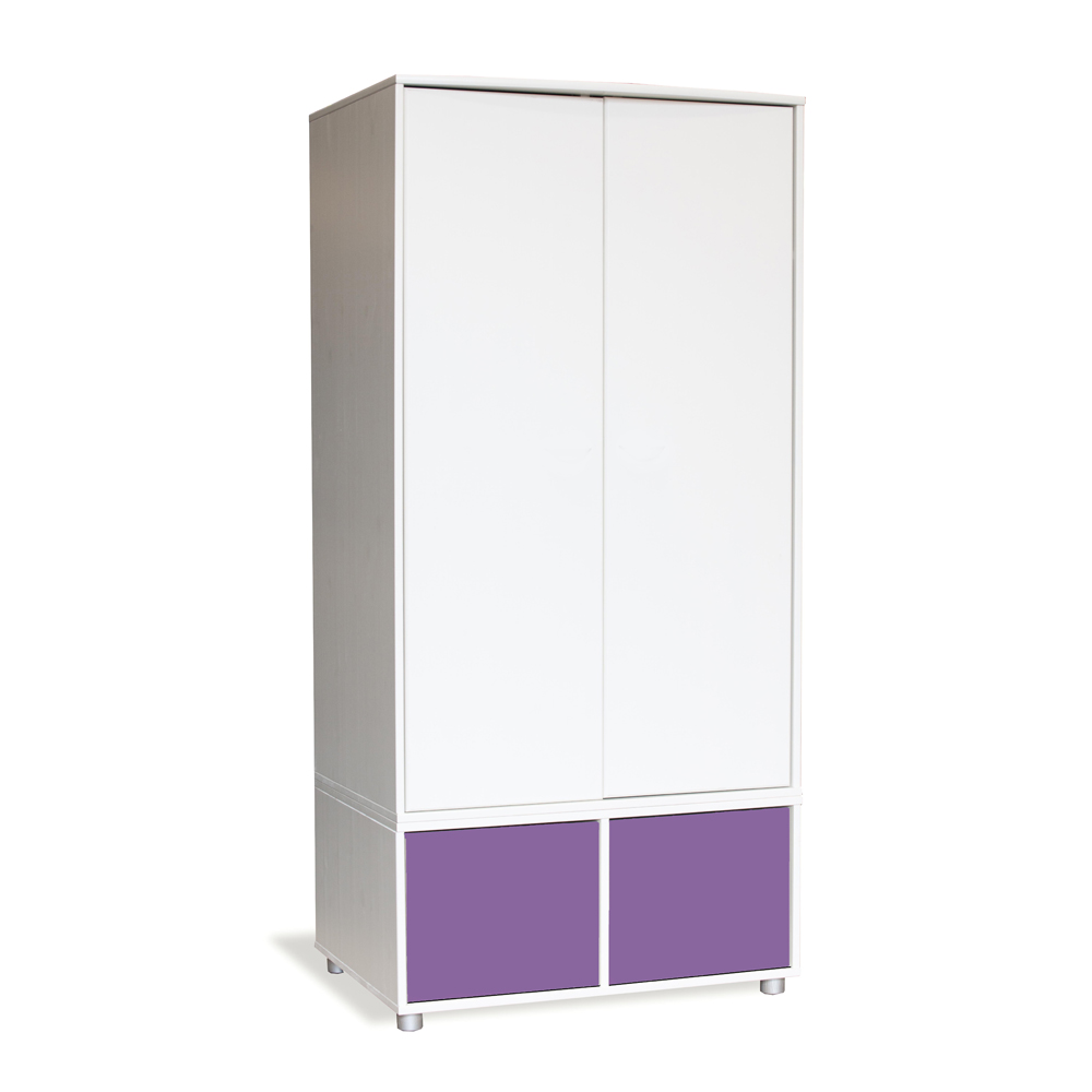 Stompa Duo Uno S Tall Wardrobe White with Doors Purple