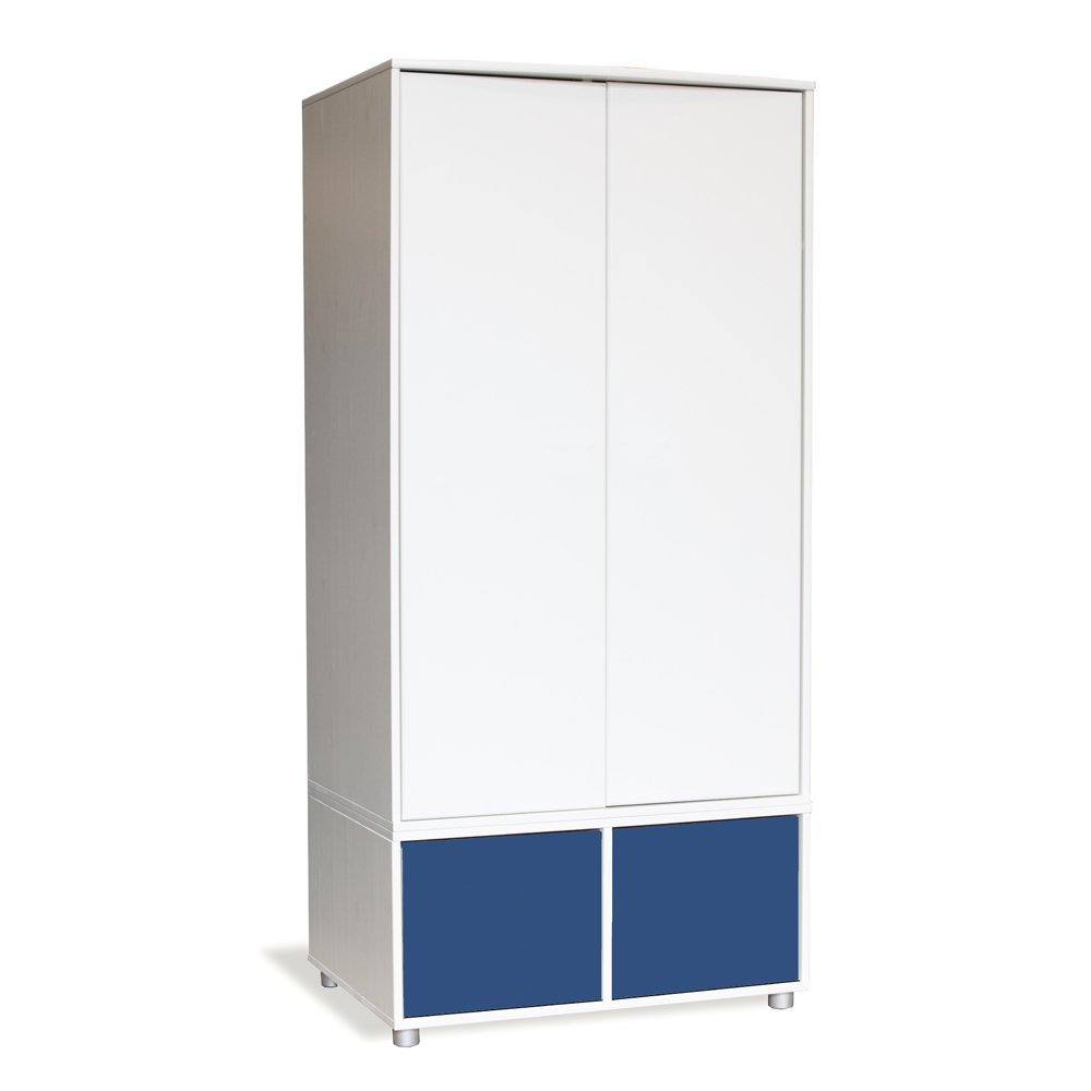 Stompa Duo Uno S Tall Wardrobe White with Doors Blue