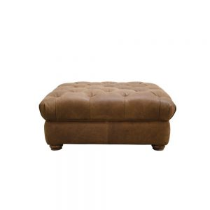 Roosevelt Button Footstool Leather all Over