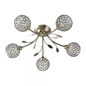 Bellis 5 Light Semi Flush Ceiling Light Antique Brass
