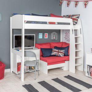 Stompa Duo Uno S Highsleeper, Red Sofa and 1 Cube Unit White Doors