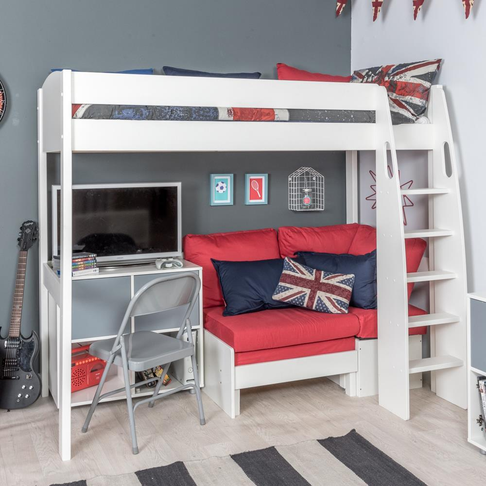 Stompa Duo Uno S Highsleeper, Red Sofa and 1 Cube Unit Grey Doors