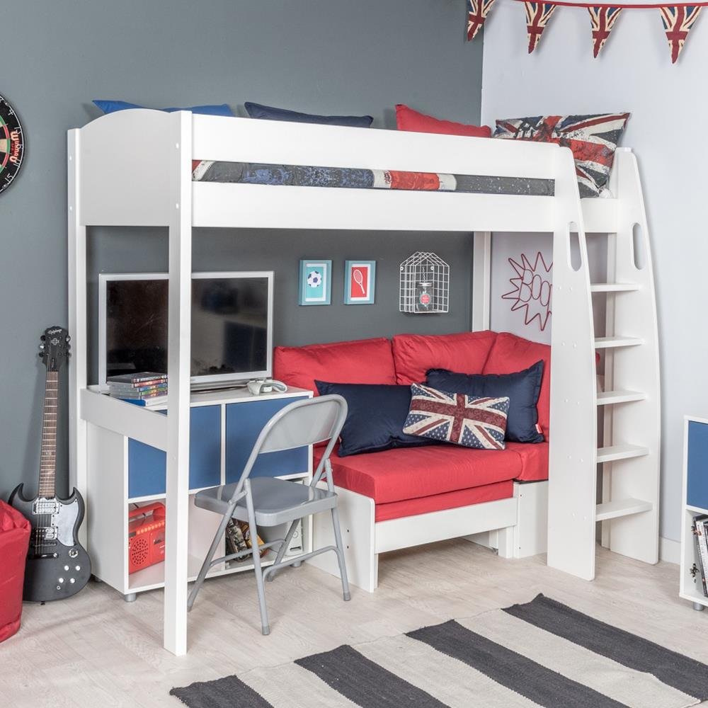 Stompa Duo Uno S Highsleeper, Red Sofa and 1 Cube Unit Blue Doors