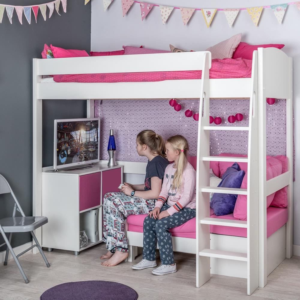 Stompa Duo Uno S Highsleeper, Pink Sofa and 1 Cube Unit Pink Doors