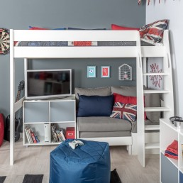 Stompa Duo Uno S Highsleeper, Grey Sofa and 1 Cube Unit Grey Doors