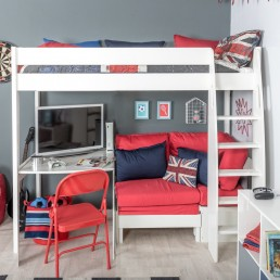 Stompa Duo Uno S Highsleeper, Red Sofa and Fixed Desk