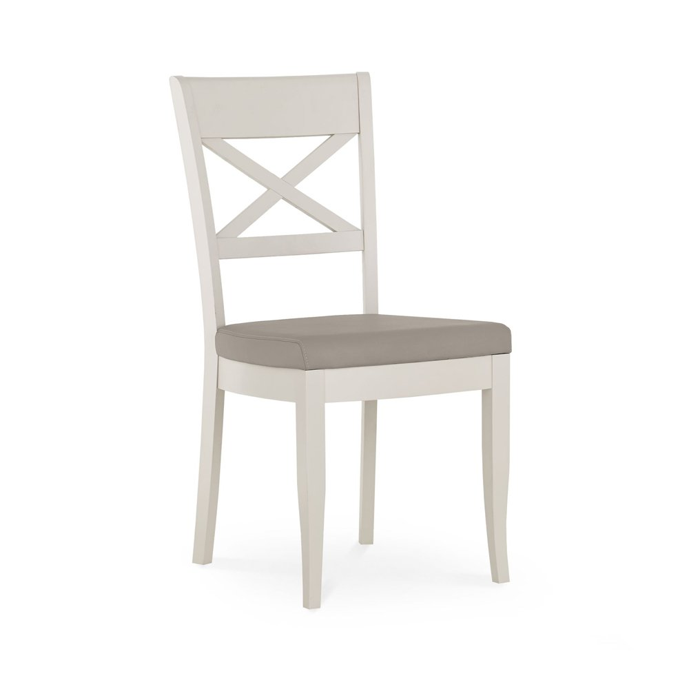 Monaco Grey Washed Oak and Soft Grey Cross Back Dining Chair – Pebble Grey (Pair)