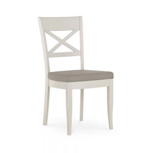 Monaco Grey Washed Oak and Soft Grey Cross Back Dining Chair – Grey Bonded Leather (Pair)