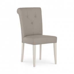 Monaco Grey Washed Oak and Soft Grey Upholstered Dining Chair – Grey Bonded Leather (Pair)