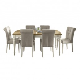 Monaco Pale Oak and Antique White 6-8 Ext Table & 6 Upholstered Fabric Chairs