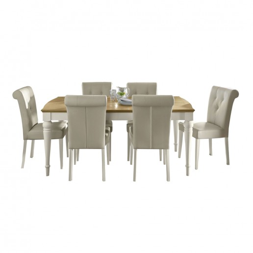 Monaco Pale Oak and Antique White 6-8 Ext Table & 6 Uph Bonded Leather Chairs