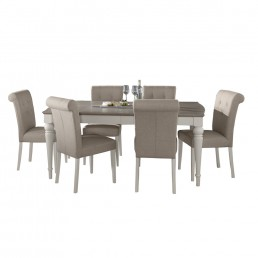 Monaco Grey Washed Oak and Soft Grey 6-8 Ext Table & 6 Upholstered Fabric Chairs