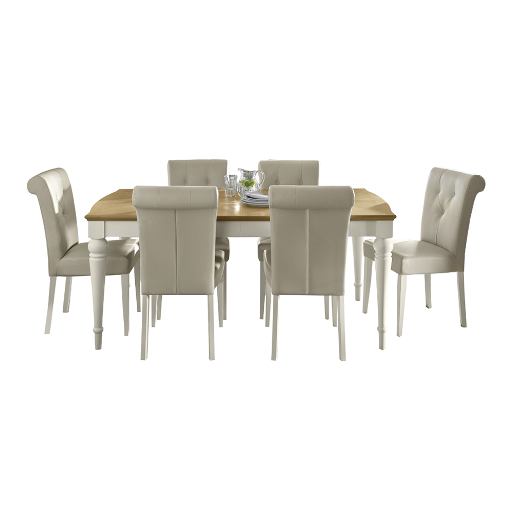 Monaco Pale Oak and Antique White 4-6 Ext Table & 6 Uph Leather Chairs