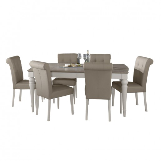 Monaco Grey Washed Oak and Soft Grey 4-6 Ext Table & 6 Uph Bonded Leather Chairs