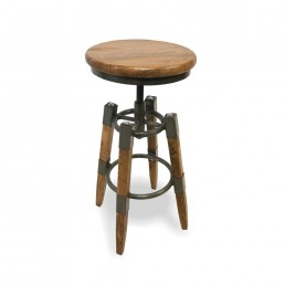 Re-Engineered Wood and Metal Square Leg Stool