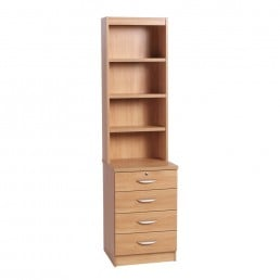 Home Office 4 Drawer Unit With Hutch
