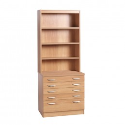 Home Office A2 Plan Chest With Deep Lower Drawer With Hutch