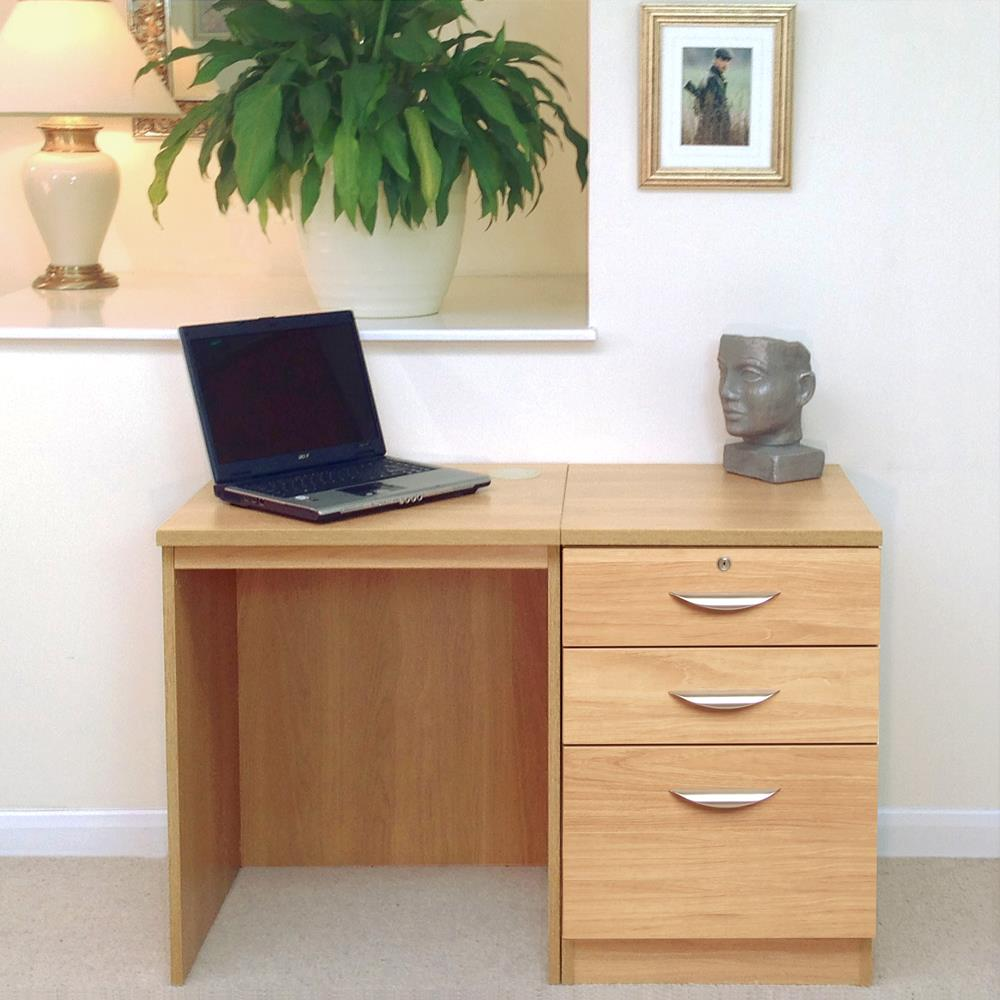 Home Office Set 2: Small Desk & Three Drawer Filing Cabinet