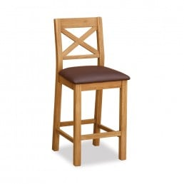Rural Charm Bar Stool With Brown Seat Pad