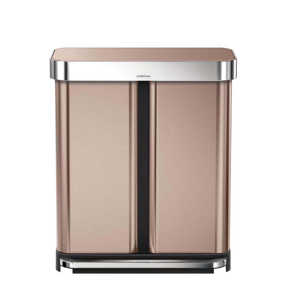 Simple Human 58L Rectangular Recycler Bin Rose Gold