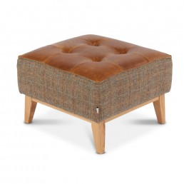 Porto Small Footstool in Fabric & Leather