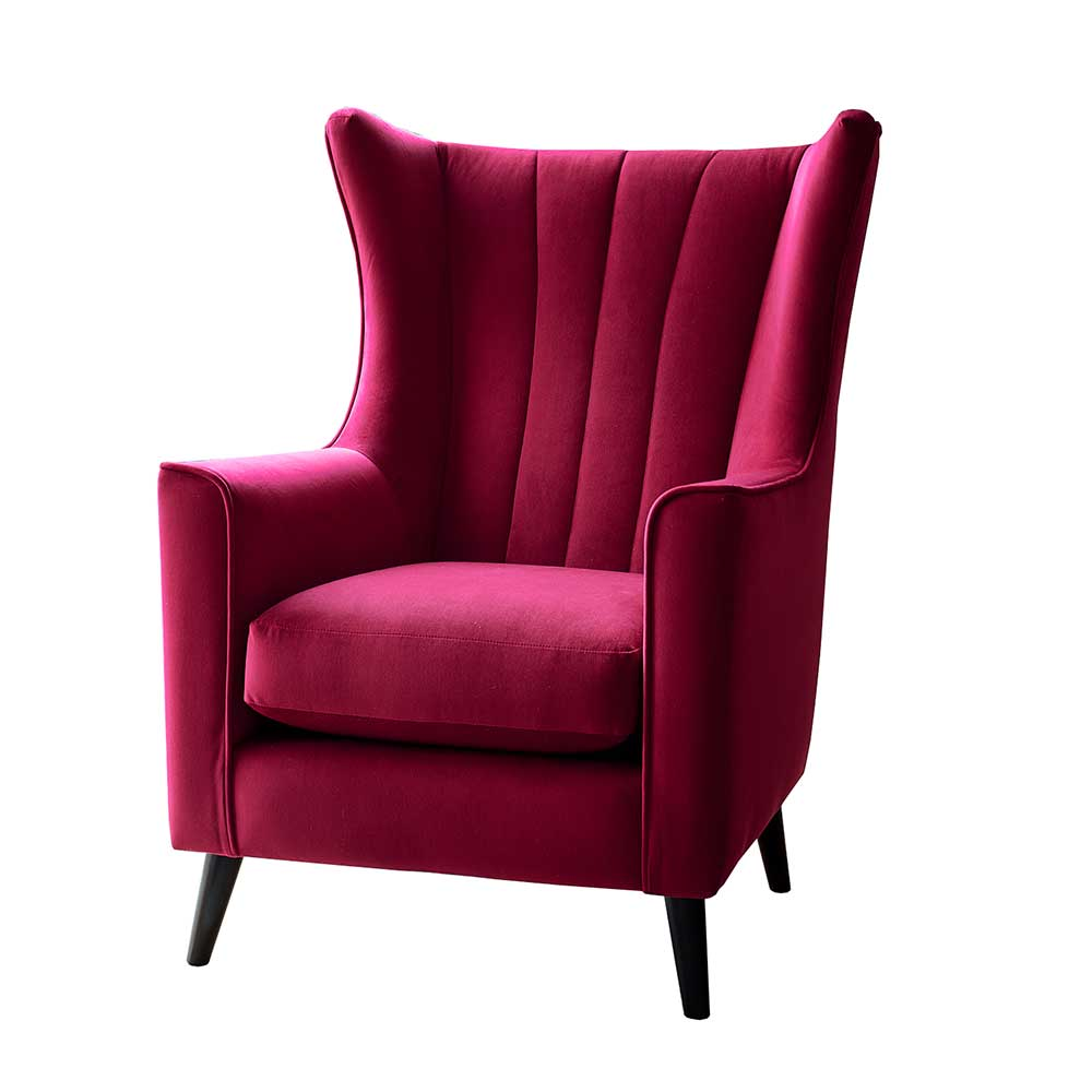Shona Wing Chair in fabric grade (V) – with wooden legs