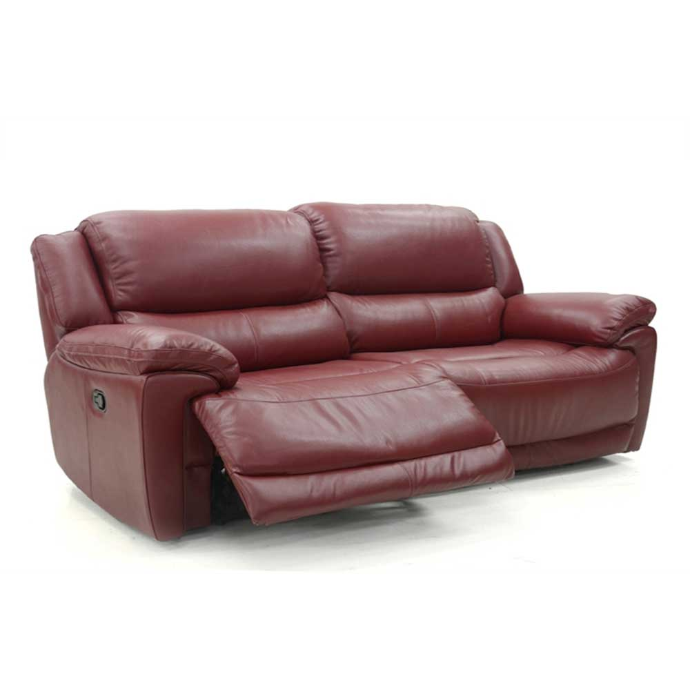 Fontana 2.5 Seater Sofa Manual Recliner New Club Red Leather