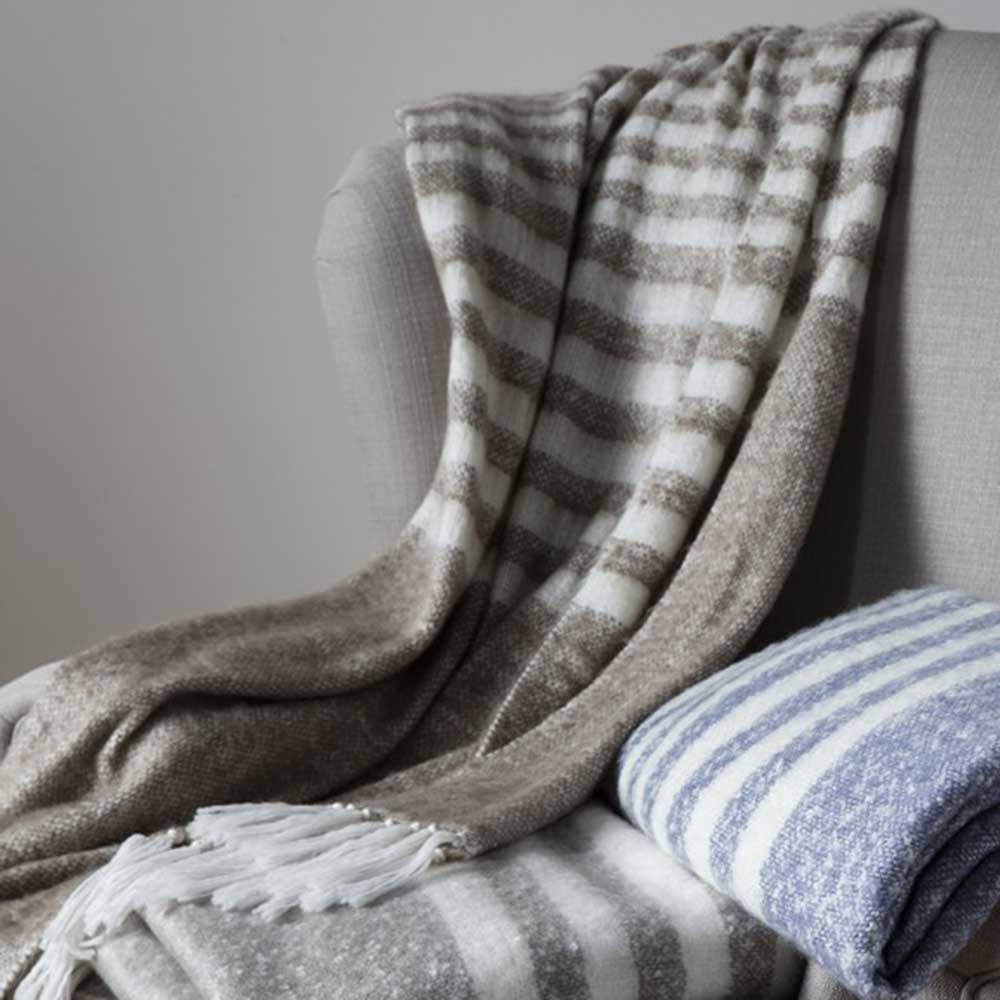 Retreat Mohair Stripe Throw Taupe