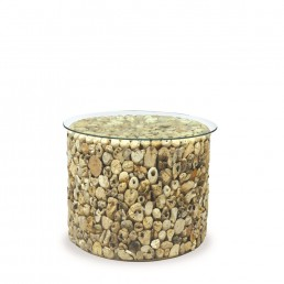 Driftwood Drum Lamp Table