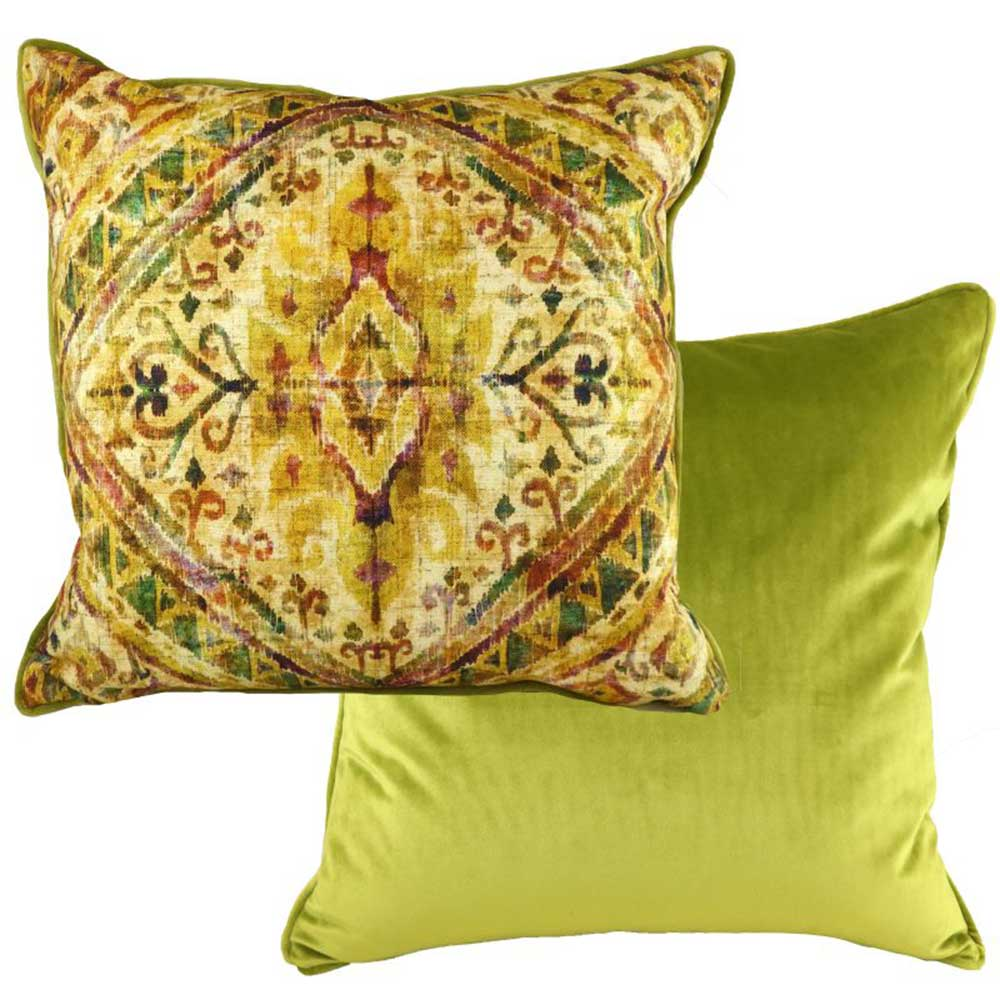 43cm Piped Bharani Duroque Cushion Green