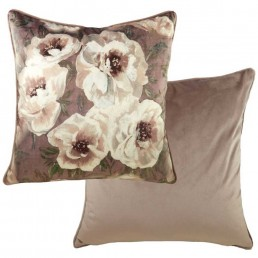 Textured Floral Piped Cushion 43cm Dusky Pink
