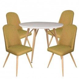 Contempo Round Table & 4 Green Reya Chairs