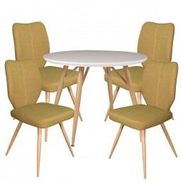 Contempo Round Table & 4 Green Enka Chairs