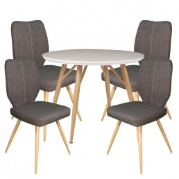 Contempo Round Table & 4 Slate Enka Chairs
