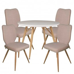 Contempo Round Table & 4 Ivory Enka Chairs