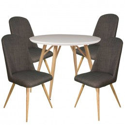 Contempo Round Table & 4 Slate Reya Chairs