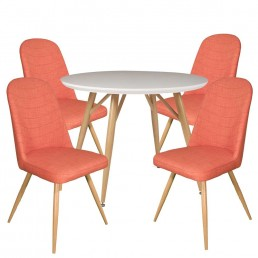 Contempo Round Table & 4 Orange Reya Chairs