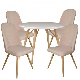 Contempo Round Table & 4 Ivory Reya Chairs
