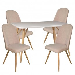 Contempo Rectangular Table & 4 Ivory Reya Chairs