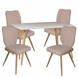 Contempo Rectangular Table & 4 Ivory Enka Chairs