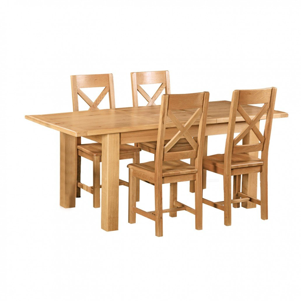 Rural Charm Extending Dining Table with 4 Chairs