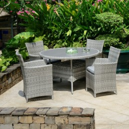 Antigua Round 118cm Dining Table & 4 Carver Dining Chairs