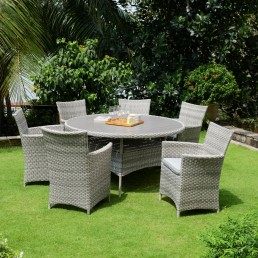 Antigua Round Dining Table & 6 Carver Chairs