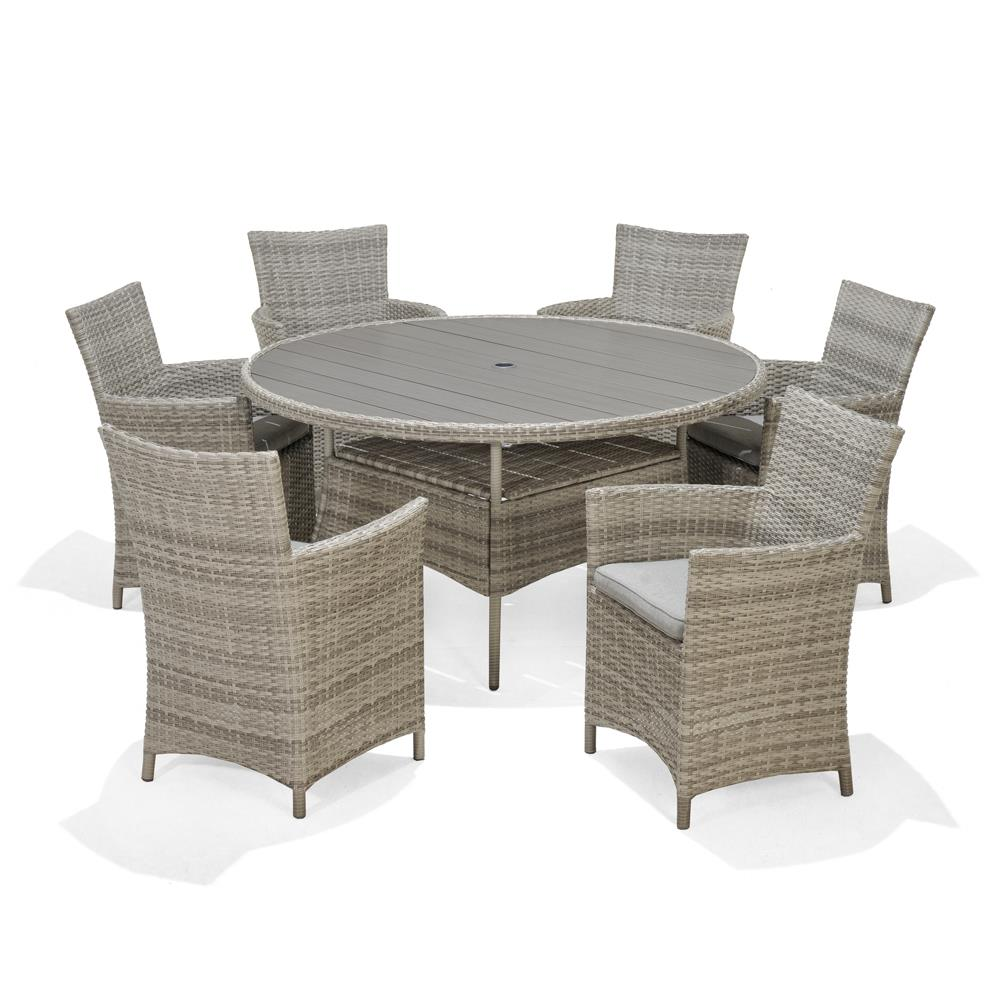 Dining Table 6 Chairs: Antigua Round Dining Table & 6 Carver Chairs • Glasswells