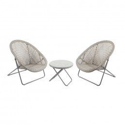 Carnaby Faux Rattan Folding Lounge Set Grey